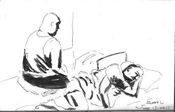 Photo: 早課2011.06.13鋼筆 才凌晨四點,老人犯起身打坐,身旁的鼾聲四起,他心中有自己的寧靜…