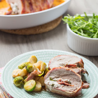 Veal Loin Stuffed with fresh Cheese, dried tomatoes and herbs.
