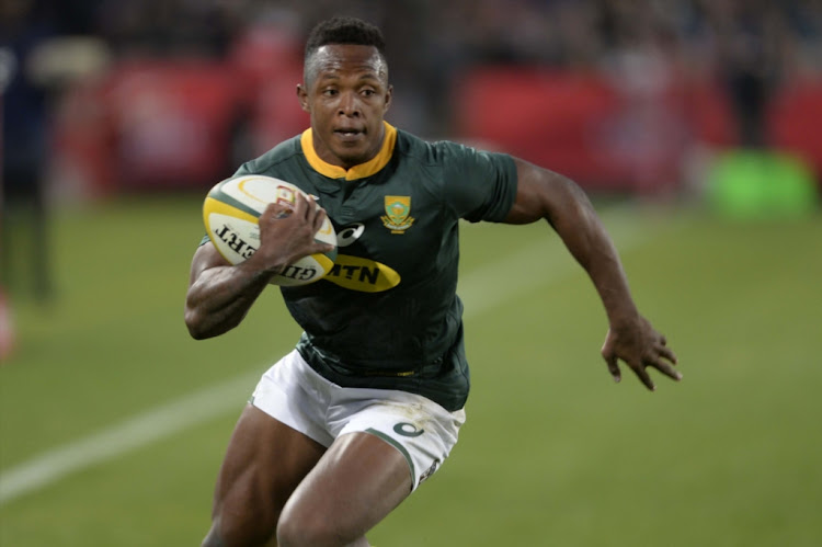 Sbu Nkosi of the Springboks during the test match between South Africa and England at Ellis Park on June 09, 2018 in Johannesburg, South Africa.