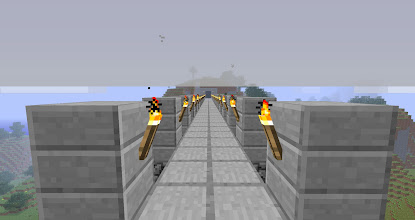Photo: It's worth noting at this juncture that everything I've made was done using spawned items.  I saw no reason to waste time mining and crafting when a simple command could give me whatever I wanted.  The guy that made this bridge and the monument it leads to did it all by hand.  I don't think he knew about the /item command.