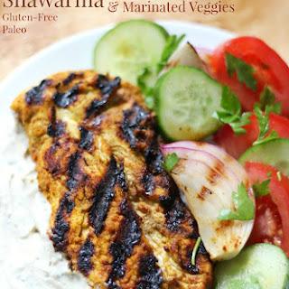 Grilled Chicken Shawarma with Yogurt Tahini Sauce & Marinated Veggies (Gluten-Free, Paleo).
