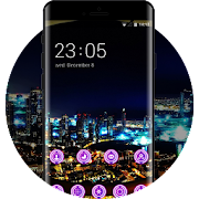 Neon theme wallpaper city view night lights icon