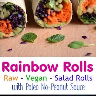 Rainbow Veggie Salad Rolls with No-Peanut Sauce.