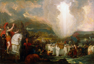 Photo: Image: ''Joshua passing the River Jordan with the Ark of the Covenant.'' By Benjamin West 1800.  HERE I RAISE MY EBENEZER ~ Theme: CELEBRATING THE JOY OF CHANGED LIVES ~ Series: Celebrating The Word Of God ~ Message: What Do These Stones Mean? Joshua 4:1-7 ESV ~ Twelve Memorial Stones From The Jordan;  https://sites.google.com/site/biblicalinspiration1/biblical-inspiration-1-series-celebrating-the-word-of-god-2014---celebrating-the-joy-of-changed-lives-what-do-these-stones-mean-the-moody-church