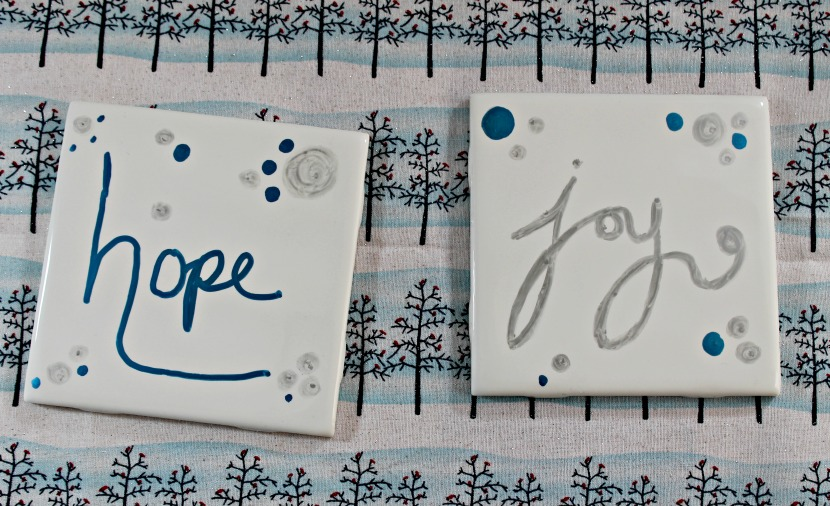 """Hope"" and ""Joy"" DIY Tile Coasters in silver & blue - perfect for Christmas!"