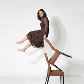 Levitation by Michael Strobl - Digital Art People ( studio, fly, woman, chair, levitation )