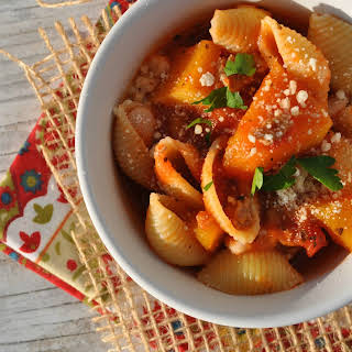 Slow Cooker Marinara Pasta Shells with Sausage and Butternut Squash.