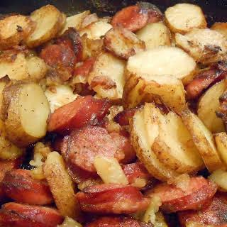 Sausage, Onion and Greek Potatoes.