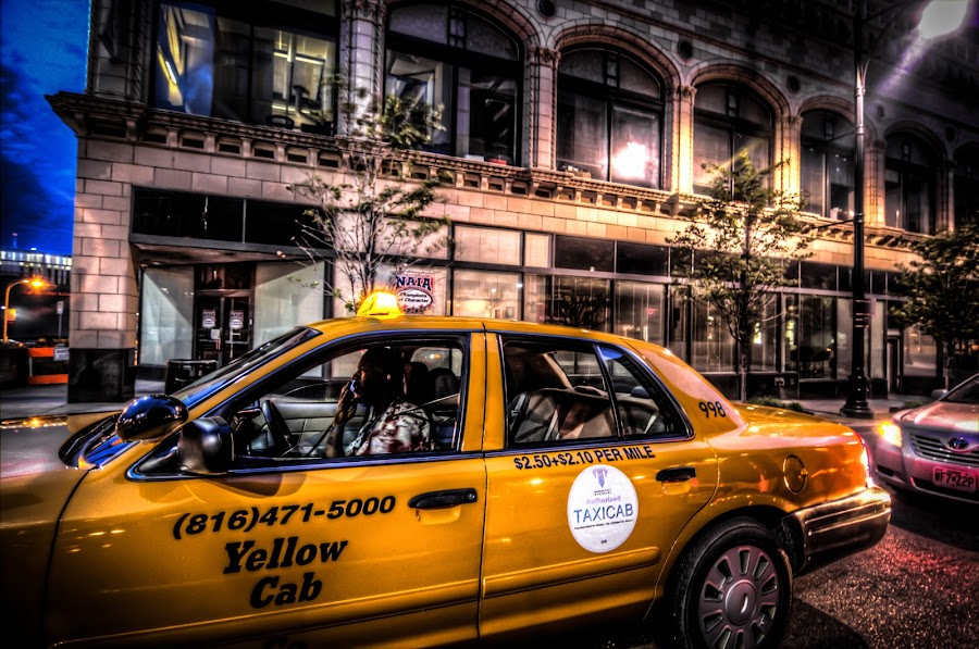 Busy City by Dan Ludeman - City,  Street & Park  Street Scenes ( car, building, taxi, hdr, t3i, city )