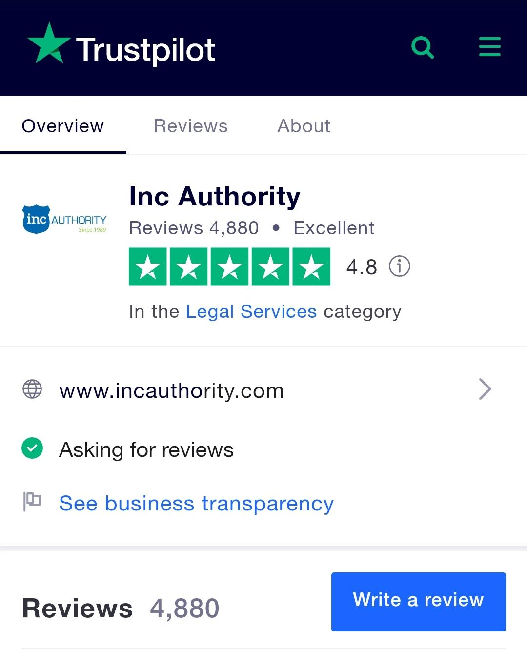 Inc Authority Trustpilot review