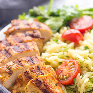 Grilled Chicken And Asparagus With Herbed Orzo.