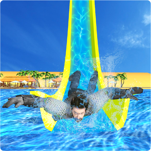 Real Super Hero Water Slide Uphill Amusement Park