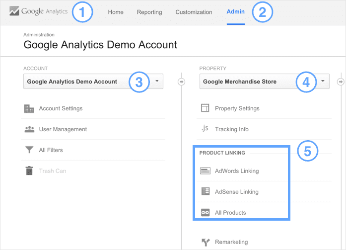 You can find these options under the Property column on the Admin page in your Analytics account.