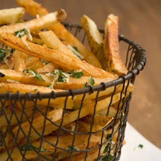 Garlicky French Fries with Parmesan and Parsley.