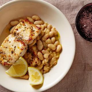 Mahi-Mahi with Smashed White Beans and Sage