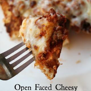 Open Faced Cheesy Hamburger Sub.