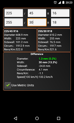 Tyre Size Calculator - screenshot