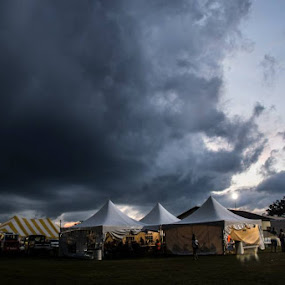STORM AT THE COUNTY FAIR by Beth Krzes - City,  Street & Park  City Parks ( tents, color, blue, county fair, storm,  )