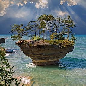 A View of Turnip Rock by Bill Diller - Landscapes Waterscapes ( michigan, great lakes, kayaking, tranquil, peaceful, turnip rock, michigan's thumb, calm, vacation, calmness, kayak destinations, thumb of michigan, tranquility, lake huron, unique rock formation )