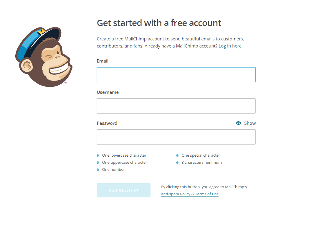 get started with Mailchimp