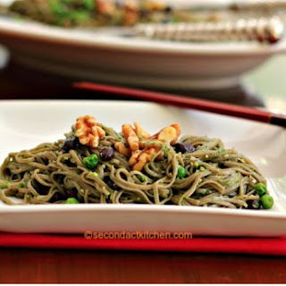 Buckwheat Noodles with Parsley Walnut Pesto