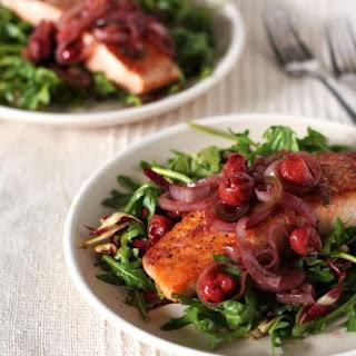 Warm Salmon and Cherry Arugula Salad