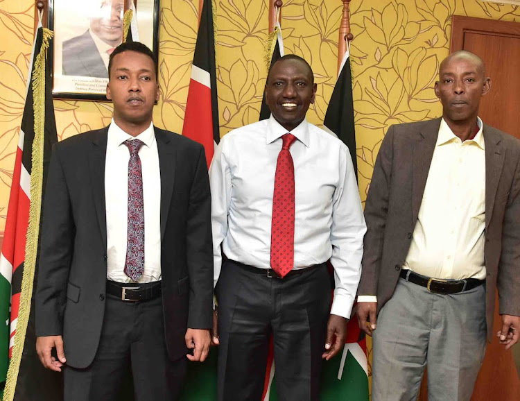 Deputy President William Ruto this afternoon when met Ali Noor Abdi (LPK) and Abbas Nunow (AGANO) who have also withdrawn from the Wajir West by-election.