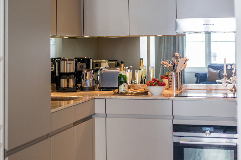 Fully equipped kitchen at Luxury Place Dauphine-ile De La Cite Serviced Apartment, Louvre