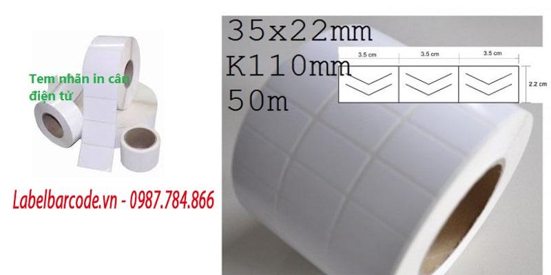 Kích thước giấy in tem cân điện tử