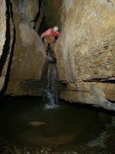 Photo: Dave downclimbing the same waterfall.