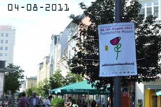 Photo: Affiches voor het festival ook in het winkelcentrum van Gera/ posters for the festival in the centre of Gera