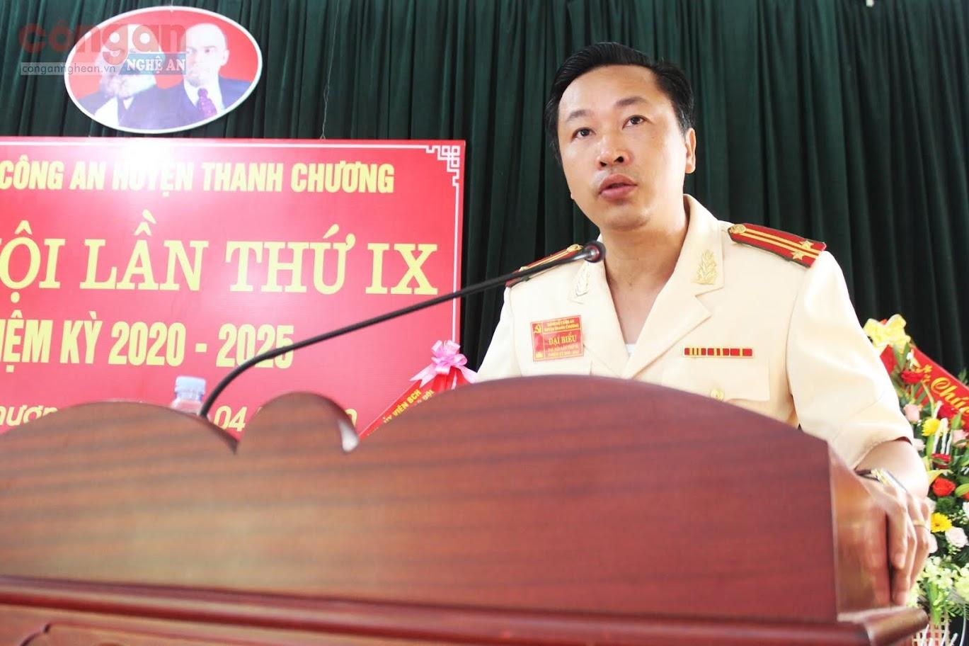 Trung tá Phan Tuấn Anh, Bí thư Đảng uỷ, Trưởng Công an huyện Thanh Chương phát biểu khai mạc Đại hội