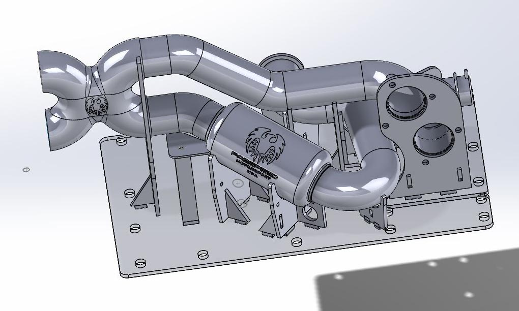 SolidWorks Model of Porsche 718 GT4 Fabspeed Valvetronic Exhaust