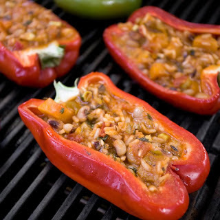 Vegetarian Pelau–Stuffed Peppers