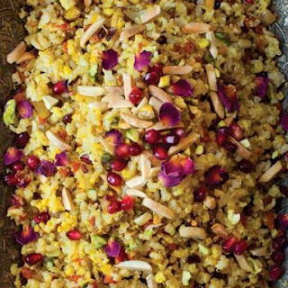 Jeweled Brown Basmati Rice and Quinoa (Morassa Polo) from 'The New Persian Kitchen'.