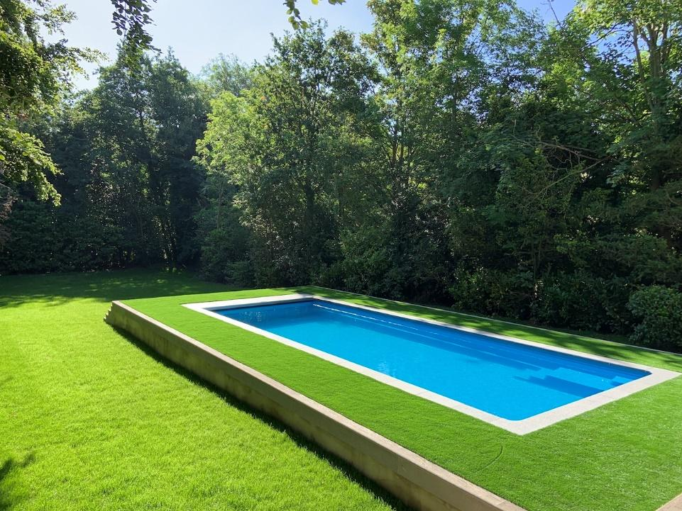 A blue and green grass  Description automatically generated