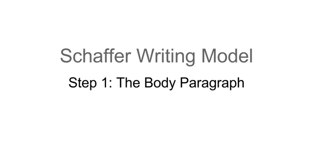 schaffer writing model