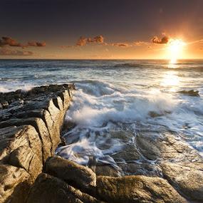 Divinity by Jason Asher - Landscapes Waterscapes ( sunshine coast, might, queensland, warm, splash, waterscape, blur, landscape, sun, crashing, motion, undulate, rocks, crash, clouds, water, point arkwright, coolum, waves, sea, seascape, coastal, motion blur, dawn, headland, wide angle, mighty, australia, sunrise, divine divinity )