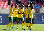 South Africa celebrates Dean Furman of South Africa's goal during the 2019 Nelson Mandela Challenge match between South Africa and Mali at Nelson Mandela Bay Stadium on October 13, 2019 in Port Elizabeth, South Africa.