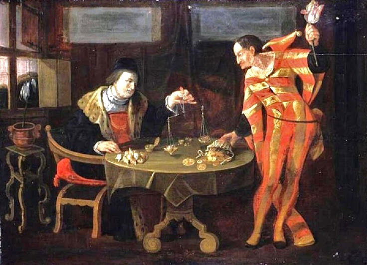"""""""The Tulip Trade.""""  Painting by an unknown artist around 1650."""