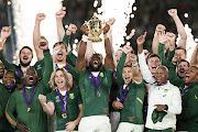 Siya Kolisi lifts the Webb Ellis Trophy after the Springboks win the 2019 Rugby World Cup final against England at International Stadium Yokohama on Saturday.