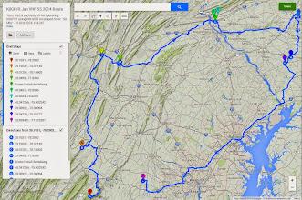 Photo: K8GP / Rover route plan - ARRL Jan VHF SS 2014
