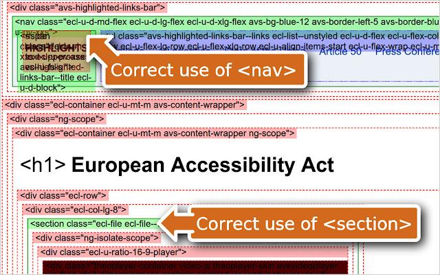Captura de tela do plug-in html5 hints funcionando. Ele exibe diversos elementos HTML sobre a página, destacando os que usam elementos do HTML5