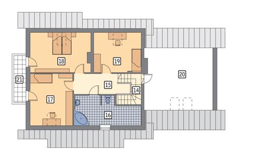 Dom za rogiem - wariant I - C110a - Rzut poddasza