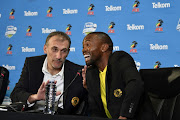 Kaizer Chiefs coach Giovanni Solinas and striker Bernard Parker share some light moments during the Kaizer Chiefs Press Conference at PSL Offices on November 22, 2018 in Johannesburg, South Africa.