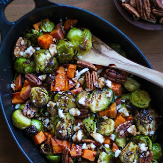 Roasted Brussels Sprouts and Sweet Potatoes + Giveaway