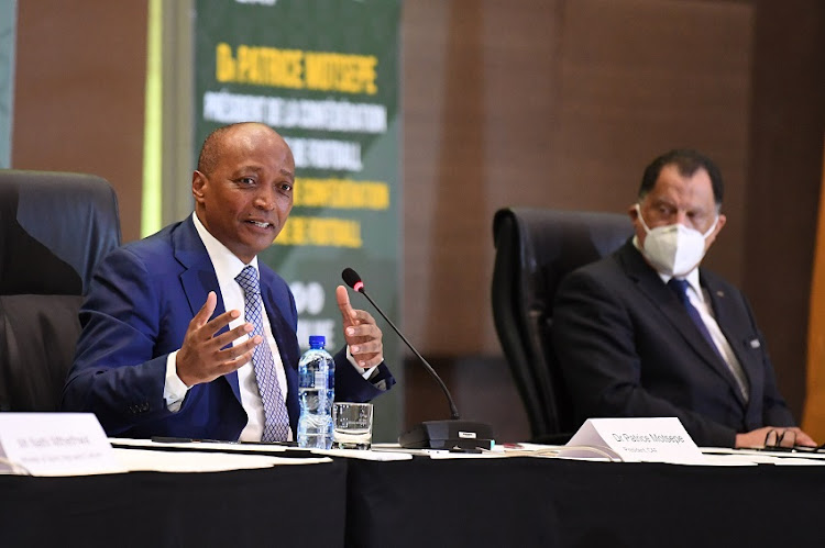 Caf president Dr Patrice Motsepe and Safa president Danny Jordaan face the press at the Sandton Convention Centre on March 16 2021.