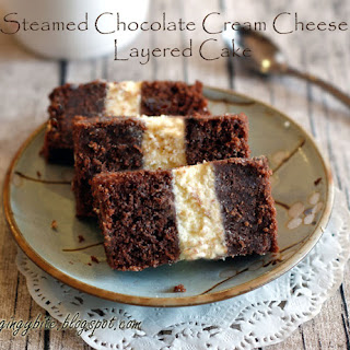 Steamed Chocolate Cream Cheese Layered Cake.