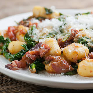Gnocchi with Bacon and Spinach.