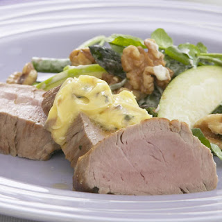 Pork Tenderloin with Garlic-Anchovy Butter and Waldorf Salad.
